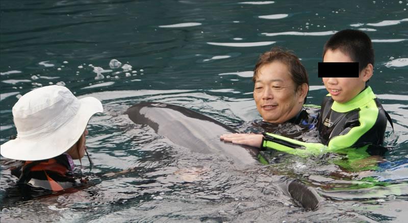 イルカと泳ぐ写真
